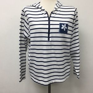 Artisans Hooded Hoodie Sweater White Blue Striped